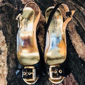 Michael Kors wooden black heels 6.5